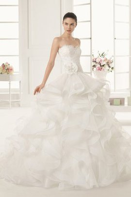Misses Flowers Demure Floor Length Cascading Ruffle Wedding Dress