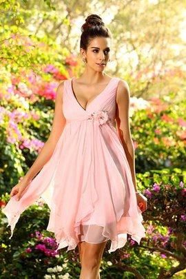 A-Line Empire Waist Chiffon Sleeveless Zipper Up Bridesmaid Dress