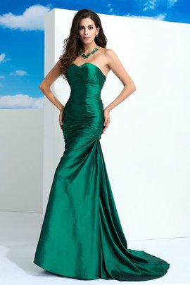 Pleated Sweep Train Sleeveless Sweetheart Sheath Evening Dress