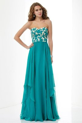 A-Line Sleeveless Empire Waist Appliques Floor Length Prom Dress