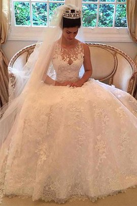 Natural Waist Court Train A-Line Lace Wedding Dress