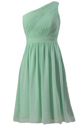One Shoulder Sleeveless Chiffon Pleated Natural Waist Bridesmaid Dress