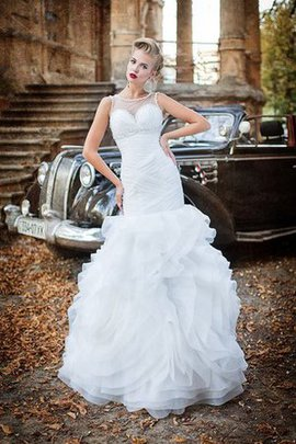 Beading Ruched Floor Length Court Train Mermaid Wedding Dress