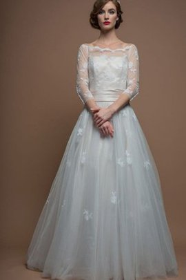 3/4 Length Sleeves Bateau Natural Waist A-Line Tulle Wedding Dress