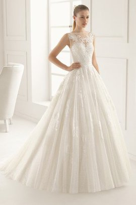 Lace Fabric A-Line Sheer Back Hourglass Long Wedding Dress