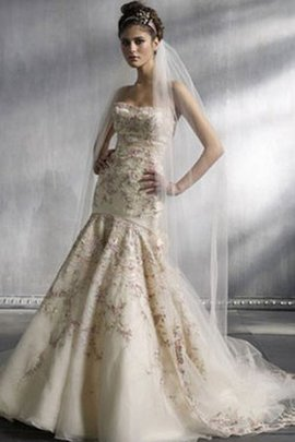 Floor Length Strapless Court Train A-Line Embroidery Wedding Dress