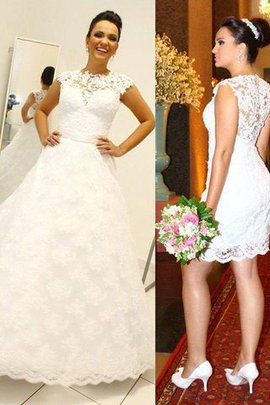Ball Gown Natural Waist Lace Scoop Floor Length Wedding Dress