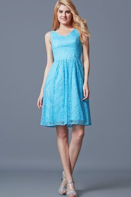 Zipper Up Lace Fabric V-Neck Short Sleeveless Cocktail Dress