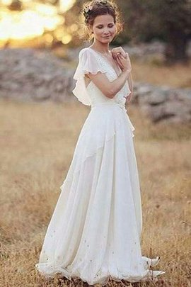 Chic & Modern Natural Waist Romantic V-Neck Demure Honorable Princess Wedding Dress
