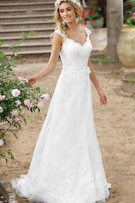 Button Simple Capped Sleeves Lace Fabric Wedding Dress