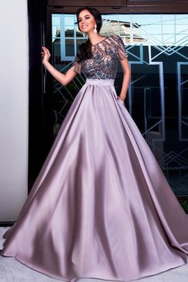 Sweep Train A-Line Natural Waist Beading Pleated Prom Dress