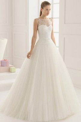 Sexy Sheer Back Tulle Lace Floor Length Wedding Dress