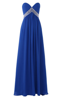Mid Back Sweep Train Draped Exclusive Empire Waist Evening Dress