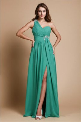 One Shoulder Chiffon Floor Length A-Line Prom Dress