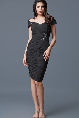 Short Sleeves Ruched Zipper Up Chiffon Formal Evening Dress