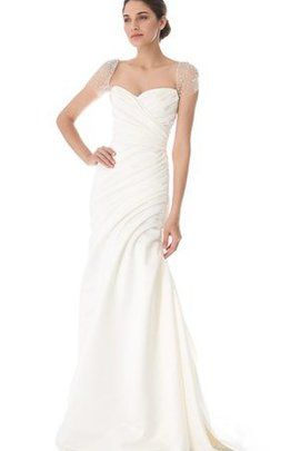 A-Line Taffeta Short Sleeves Simple Pleated Wedding Dress