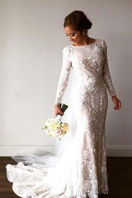Long Sleeves Modest Appliques Court Train Crystal Wedding Dress