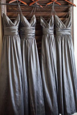 Spaghetti Straps Taffeta Floor Length Princess Natural Waist Bridesmaid Dress