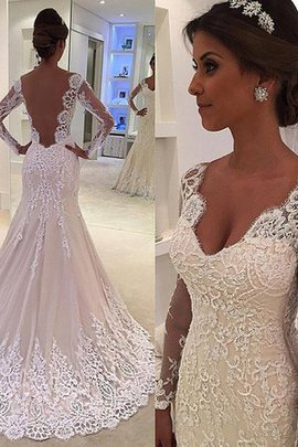 Charming V-Neck Long Natural Waist Thin Colorful Court Train Wedding Dress
