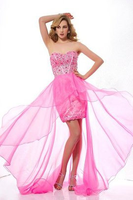 Zipper Up Natural Waist Organza A-Line High Low Prom Dress
