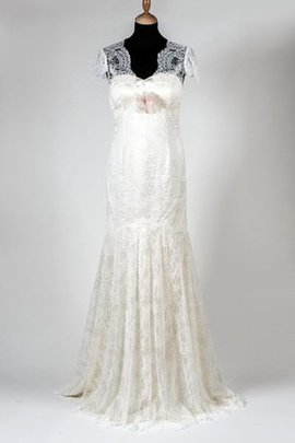 Lace V-Neck Natural Waist Court Train Wedding Dress
