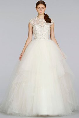 Floor Length Keyhole Back Ball Gown Embroidery Short Sleeves Wedding Dress