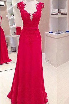 Sexy Chiffon Sleeveless Accented Bow Appliques Evening Dress