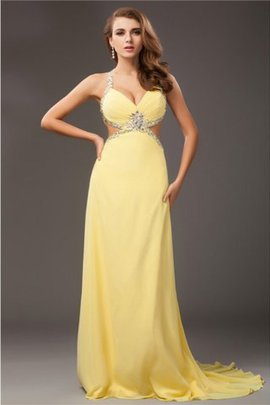 Halter Long Sheath Beading Sleeveless Prom Dress