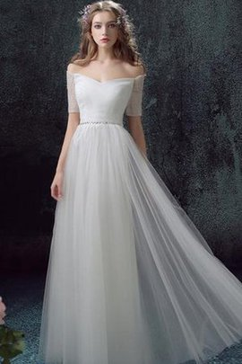 Lace-up Floor Length Lace Tulle Romantic Wedding Dress