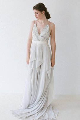 Cascading Ruffle Floor Length Chiffon Sashes Wedding Dress
