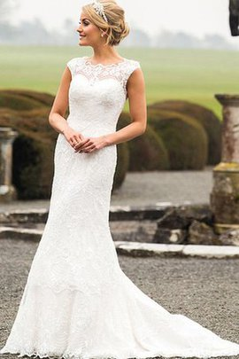 Sweep Train Short Sleeves Simple Scoop Wedding Dress