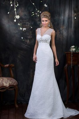 Sheath Floor Length Beading V-Neck Natural Waist Wedding Dress
