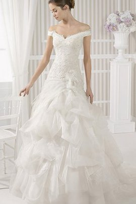 Long Elegant & Luxurious Ball Gown Ruched Sweep Train Wedding Dress