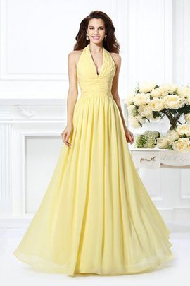 Natural Waist A-Line Draped Chiffon Halter Bridesmaid Dress