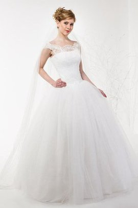 Lace-up Pleated Floor Length Capped Sleeves Bateau Wedding Dress
