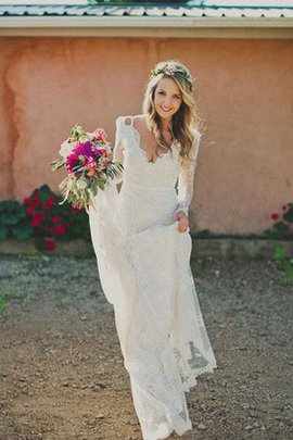 Lace Fabric Backless Tulle Chic & Modern Embroidery Wedding Dress