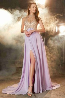 Princess Chiffon Sleeveless Zipper Up Natural Waist Evening Dress