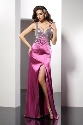 Beading Wide Straps Floor Length Elastic Woven Satin Princess Evening Dress