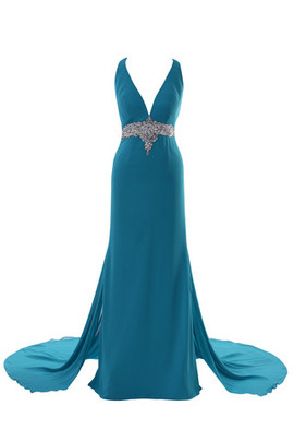 Deep V-Neck Church Long Romantic Chic & Modern Prom Dress