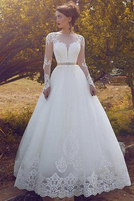 Tulle Floor Length Natural Waist Long Sleeves Ball Gown Wedding Dress