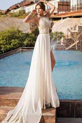 Lace Beach Jewel Chiffon Chic & Modern Wedding Dress