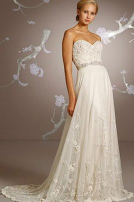 Elegant & Luxurious Beach Beading Sleeveless Sweep Train Wedding Dress