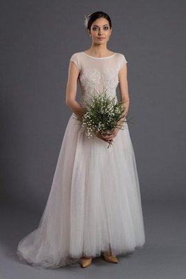 Beading Tulle A-Line Short Sleeves Floor Length Wedding Dress