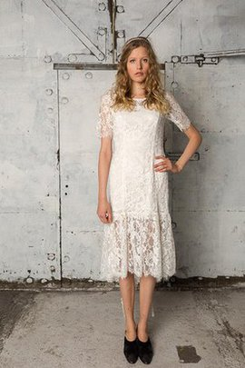 Short Lace Fabric Dropped Waist Capped Sleeves Short Sleeves Wedding Dress