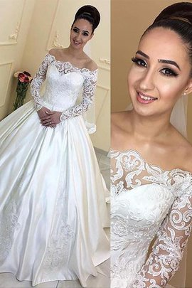 Long Sleeves Court Train Ball Gown Satin Off The Shoulder Wedding Dress