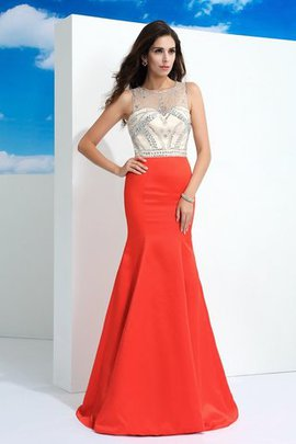 Sleeveless Beading Mermaid Zipper Up Satin Evening Dress