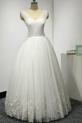 Lace Fabric Ruched Floor Length Appliques Pleated Wedding Dress