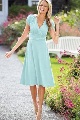 Ruched Tea Length Chiffon Capped Sleeves A-Line Bridesmaid Dress