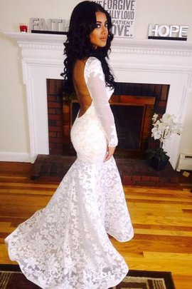 Lace Fabric Long Sleeves Floor Length Dazzling Misses Scoop Backless Wedding Dress