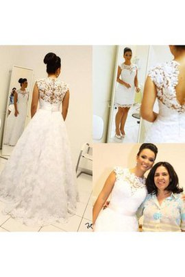 Short Sleeves Sweep Train Capped Sleeves High Neck Wedding Dress